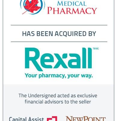 Capital Assist (Valuation) Inc. and NewPoint Capital Partners, Inc. advises Leamington Medical Pharmacy Ltd. on its sale to Rexall/Pharma Plus Pharmacies Ltd.