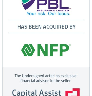 Capital Assist (Valuation) Inc. advises PBL Insurance Limited on its sale to NFP Canada Corp.